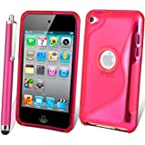 Supergets® Apple iPod touch 4th Generation ( Launched Sept 2010 and Oct 2011 ) Wave Hydro Gel Silicone Case Cover Skin, Stylus, Screen Protector And Polishing Cloth - Pink
