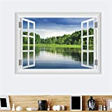 JIAER Naturwald Landschaft See Wandaufkleber Wohnzimmer Schlafzimmer TV Hintergrund Sofa Home Decor 3D Fenster Wandtattoos Wandbild Poster