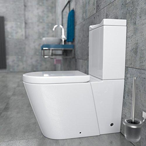 KeraBad Stand-WC Kombination mit Spülkasten WC-Sitz aus Duroplast mit Absenkautomatik SoftClose-Funktion für waagerechten und senkrechten Abgang Wasseranschluss links am Spülkasten KB380A-L