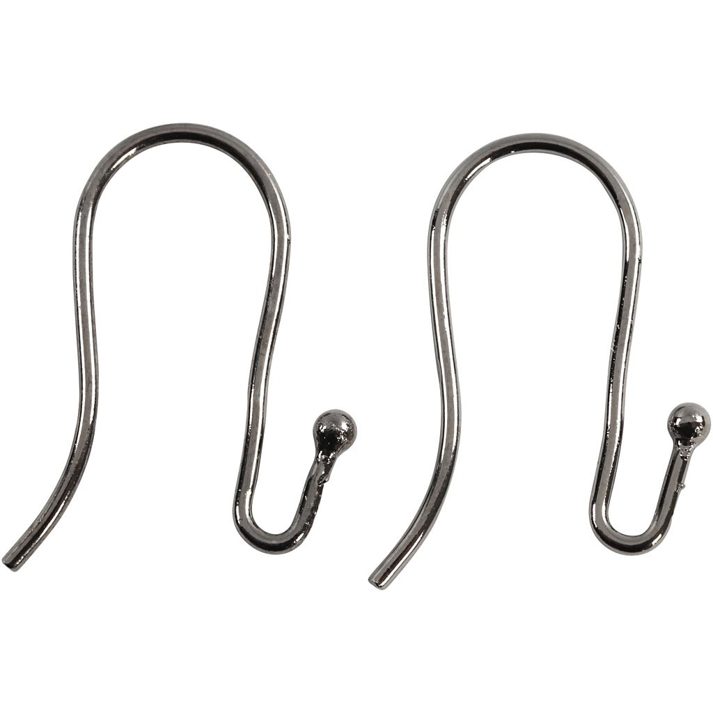 Ganci per orecchini, L: 22 mm, spess. 1 mm, grigio scuro metallico, 6pz
