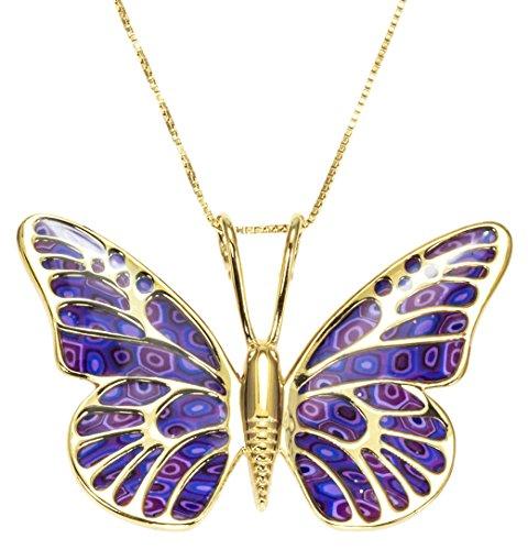 Parure Papillon en Or - Bijoux fantaisie de créateur - Collier et boucles d'oreilles fait main - Cadeau de Noel unique Violet