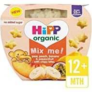Hipp Orgánico Pera, Melocotón, Plátano Y Passonsfruit Con Copos De Cereales Crujientes 121G - Paquete de 6