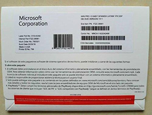 Microsoft Windows 10 Professional 32 - 64 Bit DVD Pro | Spanish (ES)