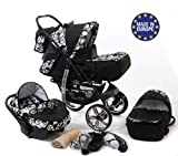 3-in-1 Travel System with Pram, Car Seat, Pushchair & Accessories, Black & Flowers