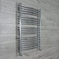 companyblue 750mm Wide Curved Chrome Heated Towel Rail Radiator Ladder for Stylish Bathroom (750 x 1000 mm)