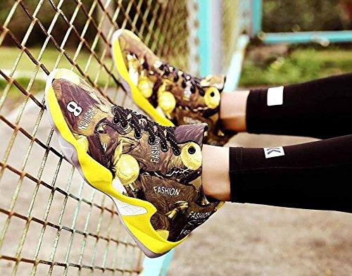 Hommes Chaussures De Basket-ball Respirant Haut Haut De Automne Camouflage Européen Toile Chaussures De Sport Jaune