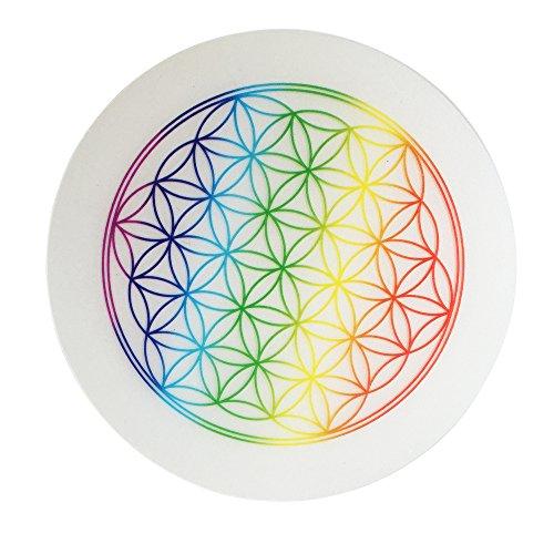5 x Untersetzer Blume des Lebens, Regenbogenfarbe, Untersetzer für Trinkgläser, Flaschen, Blumentöpfe