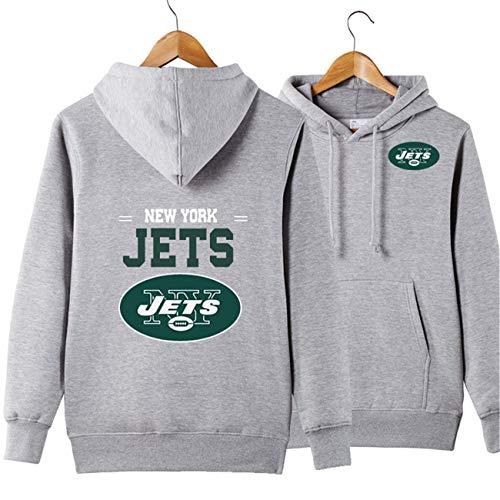 SZRXKJ Herren Langarm Mit Kapuze Buchstaben Druck New York Jets Football Team Einfarbig Pullover Hoodies(XL,grau)