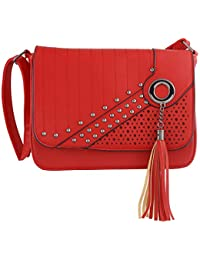 1dfb61bc9a3a NFI Leatherette PU Handbag, Sling Bag with Adjustable Strap for Women and  Girls College Office