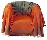 Fouta Futée Jeté de Fauteuil Carré en Coton Orange/Vert Amande 200 x 200 cm