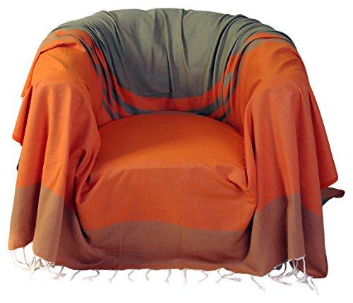 Fouta Futée Sessel-Überwurf, Quadratisch aus Baumwolle Orange/grün Mandel 200x 200cm