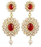 Touchstone indischen Bollywood Liebenswürdig, Candy Rot Faux Rubin und Weiß Kristalle Dazzling Brautschmuck Jewelry Kronleuchter Ohrringe für Damen in gold Ton.