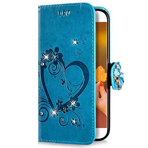 Uposao Kompatibel mit Samsung Galaxy J7 2017 Handyhülle Schmetterling Liebe Blumen Muster Diamant Bling Glitzer Strass Schutzhülle Flip Case Handytasche Wallet Hülle Bookstyle Klapphülle,Blau