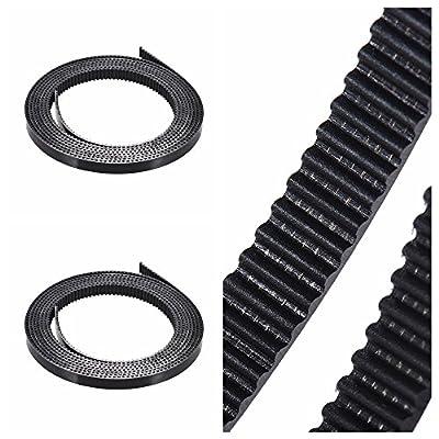 Aibecy 2 Pcs 2mm Pitch 6mm Gummi Zahnriemen Gummigürtel Riemenscheibe Übermittlungsband mit Stahldraht für RepRap Prusa i3 3D-Drucker CNC Zahnriemen PU-Material Breite