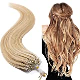 Extension a Froid Cheveux Naturel Rajout Micro Anneaux 100% Cheveux Humain - Micro Ring Loop Remy Hair Extensions 100 Mèches 50g (#18+613 SABLE BLOND MECHE BLOND CLAIR, 20 Pouce/50CM)