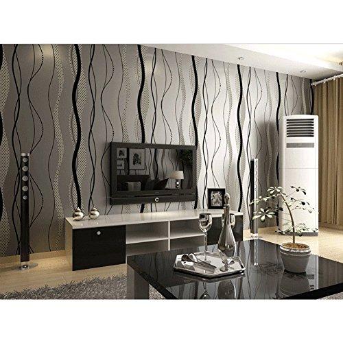 HANMERO personalizado diseño papel pintado moderno rayas curvas, no tejido papel de pared pintado, color negro gris, 0.53M*10M