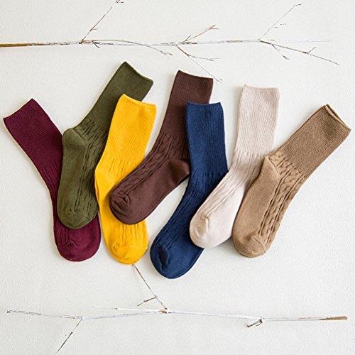 LUOEM Slouch Socken Stricksocken für Damen Mädchen Füße von 35-38 Größen (Grau) - 3