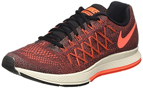 Nike Air Zoom Pegasus 32, Chaussures de Running Entrainement Femme Multicolore (Black/Hyper Orange-Brght Crmsn)