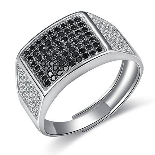 JiangXin Luxus Gentleman Ring herren Verstellbar Silberring Öffnung 925 Sterling Silber Men's ring Schwarze Micro ebnen Simulierter Diamant Best Geschenk Für Männer (Diamant-herren Ring)
