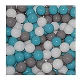 Cristal 100 Bälle 7cm Ø Bällebad viele bunte Farben Baby Kind Spielbälle Kugelbad Blau Türkis Grau Pink Rosa Schwarz Weiss (Türkis, Grau und Weiss)