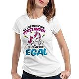 CottonCloud Ich hab dich schon verstanden - es ist mir nur egal Damen T-Shirt Einhorn Unicorn, Farbe:Weiß;Größe:XS