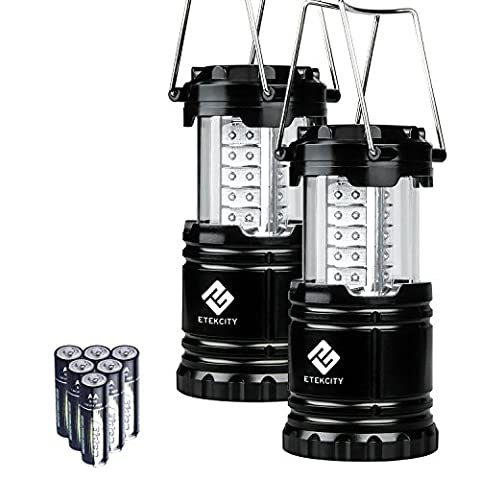 Etekcity 2 Pack LED Camping Lanterns, Portable Collapsible Outdoor Lights, Battrey Powered Equipment, Water Resistant, For Hiking, Home Power Cuts & Emergencies, Batteries Included, 10 Year