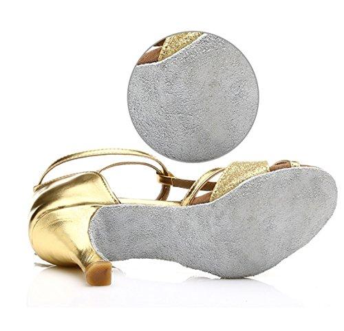 WXMDDN Ballo latino oro scarpe scarpe da ballo 5cm scarpe con i tacchi alti in latino danza danza moderna Scarpa Oro 7cm