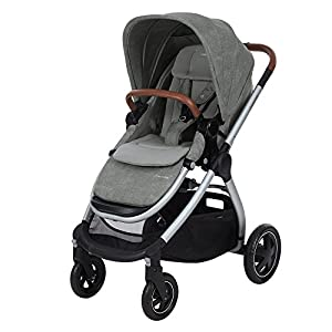 Maxi-Cosi Adorra Baby Pushchair, Comfortable and Lightweight Stroller with Huge Shopping Basket, Suitable from Birth, 0 Months - 3.5 Years, 0-15 kg, Nomad Grey  Bumper bar, raincover, shopping basket and parent tray with cupholders UPF 50+ sun canopy and oversized expandable hood SoftTouch 5-point safety harness adjusts to 3 heights 4-position recline and 2-position leg rest One-hand instant fold with automatic lock 12