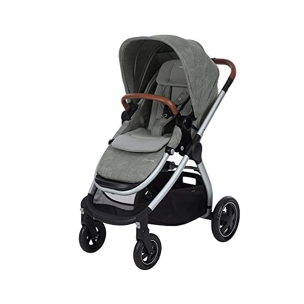 Maxi-Cosi Adorra Baby Pushchair, Comfortable and Lightweight Stroller with Huge Shopping Basket, Suitable from Birth, 0 Months - 3.5 Years, 0-15 kg, Nomad Grey Maxi-Cosi Cocooning seat - the luxury of a large padded seat for baby Lightweight - a light stroller less than 12kg that makes walking effortless Huge shopping basket - very easy to access 1
