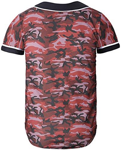 Pizoff Herren lässig Hip-Hop T-shirts Tops mit Knöpfen und Bunt Muster Y1724-28