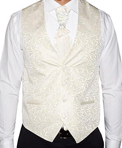 Herren Weste Creme Ivory - SET 5 TEILIG - Designer Hochzeitsweste W-10 (48 - L)
