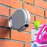 Tatkraft Long Wand | 12 m einziehbare Wäscheleine | Sehr stabile und widerstandsfähige Wäscheleine | Automatischer Einziehmechanismus | Einfache Montage an der Wand | Gartentrockner