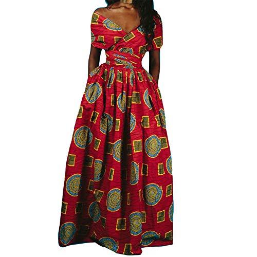 Reasoncool Damen Kleider Elegante Partykleid Cocktailkleid Minikleid Frauen Afrikanisches Drucken Langes Kleid ärmelloses Dashiki Party...