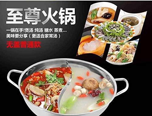 Dergtgh Dual Sided Edelstahl Hot Pot Yuanyang Pot Shabu Shabu Yin Yang Chafing Dish Kochgeschirr