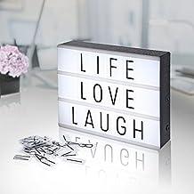 Boîte aux lettres cinématographique format A4 avec LED Light par STONE, 85 cartes incluant des lettres, des chiffres et des symboles colorés, allumez votre vie