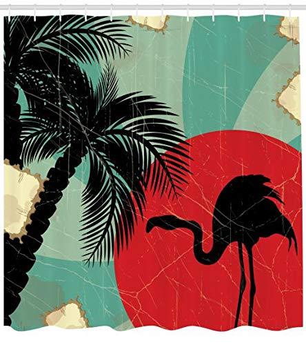 ABAKUHAUS Tropicale Tenda da Doccia, Retro Stile Grunge Composizione Hawaiana con La Sagoma del Fenicotttero, Repellente AcquaBatteri, 175 x 200 cm, Multicolore