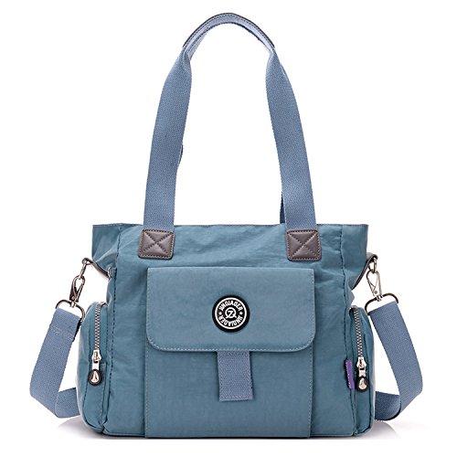 Outreo Umhängetasche Mädchen Schultertasche Designer Taschen Damen Kuriertasche Wasserdichte Sporttasche Reisetasche Handtasche Messenger Bag für Strandtasche Nylon Blau One