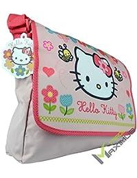 HELLO KITTY Schultertasche / Umhängetasche Kindertasche für Mädchen mit Klettverschluss / rosa / abwischbar / perfekt für Kindergarten, Vorschule, als Sporttasche, Grundschule / 100 % Polyester