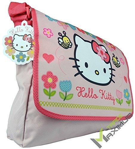 HELLO KITTY Schultertasche / Umhängetasche Kindertasche für Mädchen mit Klettverschluss / rosa / abwischbar / perfekt für Kindergarten, Vorschule, als Sporttasche, Grundschule / 100 % Polyester (Kitty Handtasche Hello)