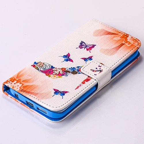 A9H iPhone 5C Brieftasche Hülle Ultra Slim Leder Tasche Hülle Etui Schutzhülle Ständer Smart Cover Case für PU Leder Flip Bookstyle Folio Cover Ledertasche Schutzhülle Tasche mit Standfunktion und Kar 5HUA