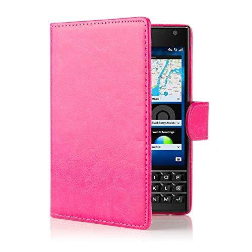32nd PU Leder Mappen Hülle Flip Case Cover für BlackBerry Passport, Ledertasche hüllen mit Magnetverschluss & Kartensteckplatz - Hot Pink