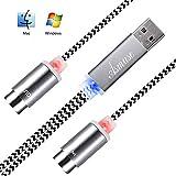 Asmuse™MIDI Kabel to USB 2.0Interface 5 PIN In Out Konverter mit eingebautem Treiber LED Anzeige leuchte ultra flexibel für E Piano Keyboard Instrument zu PC Laptop Mac Windows 1.9 m