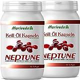 Gélules d'huile de krill 180, 100% pure huile de krill NEPTUNE premium - Omega 3,6,9 astaxanthine, phospholipides, choline, vitamine E - Qualité de la marque par MoriVeda (2x90)