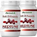 Krill oil capsules 180, 100% pure NEPTUNE premium krill oil - Omega 3,6,9 astaxanthin, phospholipids, choline, vitamin E - Brand quality by MoriVeda (2x90)