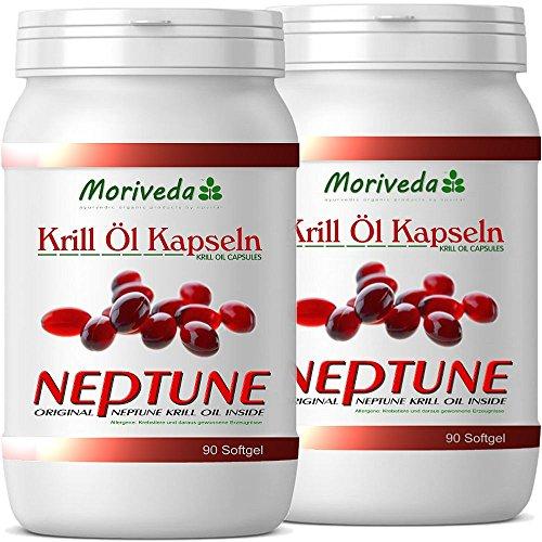 Krillöl Kapseln 180, 100% reines NEPTUNE Premium Krill Öl - Omega 3,6,9 Astaxanthin, Phospholipide, Choline, Vitamin-E - Markenqualität von MoriVeda (2x90)