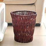 GWW Rattan Mülleimer,Handgewebte abfallbehälter Wicker 12 l abfalleimer ohne Deckel Runde papierkorb für zuhause Schlafzimmer Office-B 27x25cm(11x10inch)