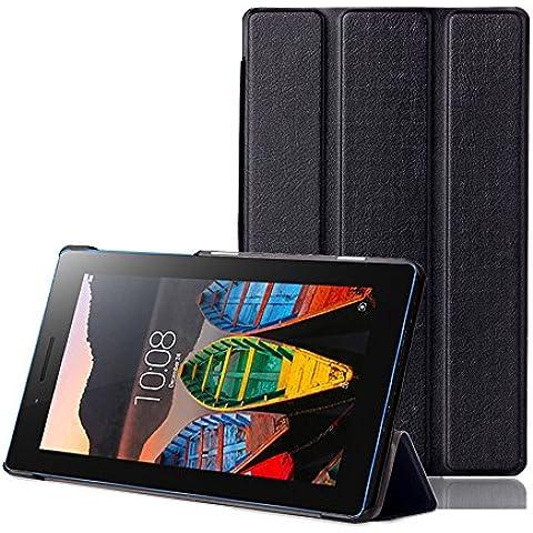 tinxi® PU piel funda para lenovo Tab3 7 Essential Tab 3-710F 7 pulgadas (17,78 cm) protectora Cover Tablet Notebook Case con funcion de soporte con el negro