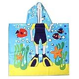 nuosen Kinder Strandtuch Poncho, Kinder Bademantel mit Kapuze, Mikrofaser, Cartoon-Bademantel für Mädchen, Jungen, 59,9 x 119,4 cm