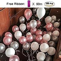 PuTwo Ballon Gonflable Lot de 100 30CM Décoration de Fête Pour Mariage Anniversaire Baby Shower – Rose Blanc Gris