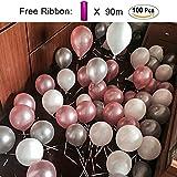 PuTwo Luftballons 100 stk Ø ca. 27cm Rosa Weiß Grau Party Dekoration für Hochzeit Geburtstag ? Rosa/Weiß/Grau